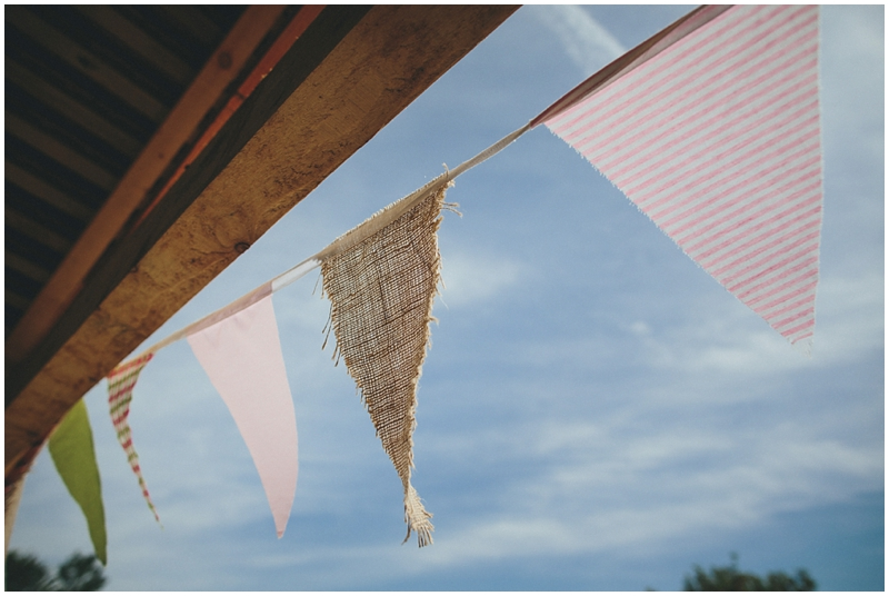 Bunting outside the Tithe Barn in the sunshine