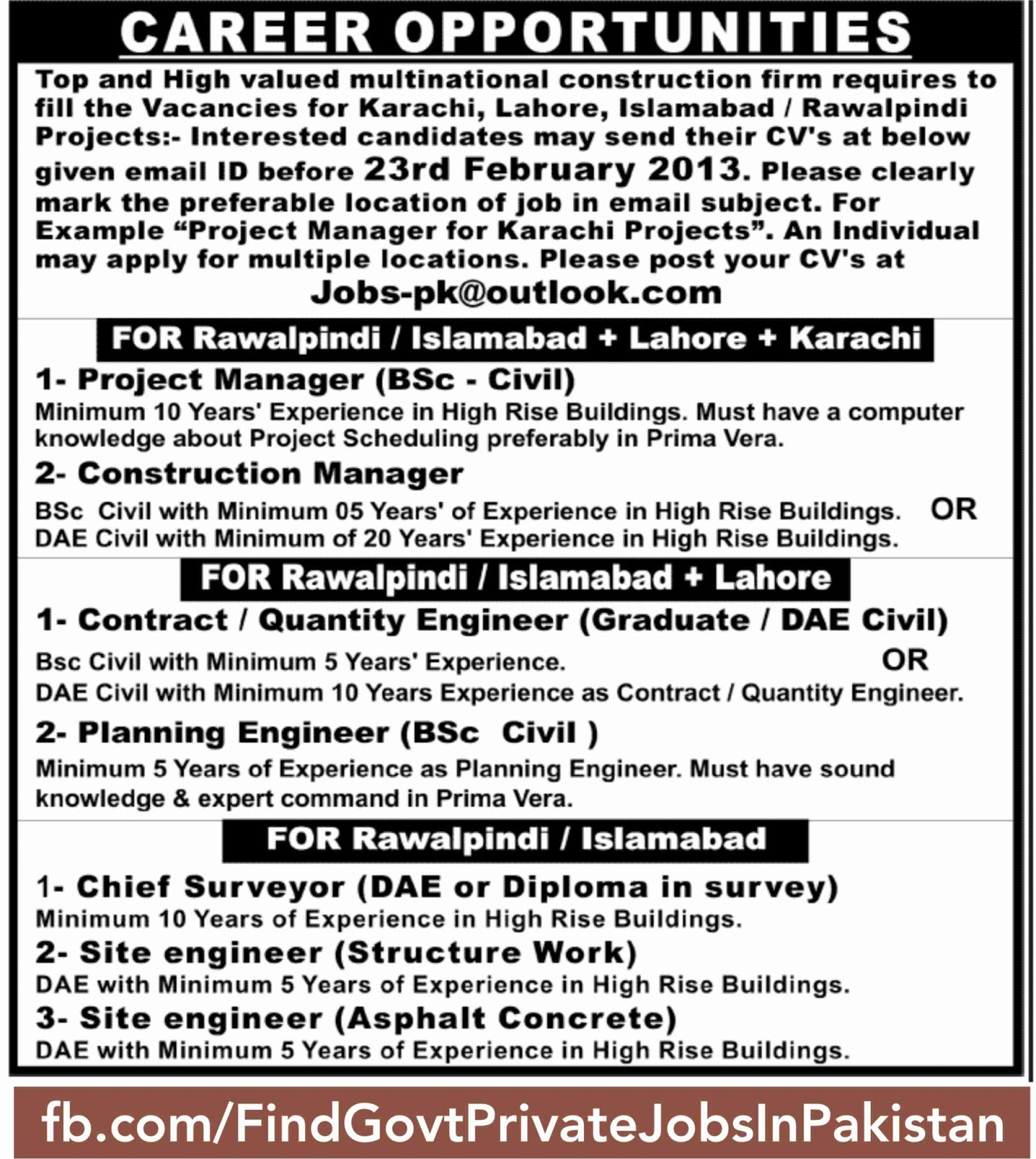 jang sunday job ads all
