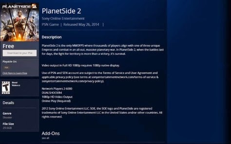 Planetside 2 ps4 release date