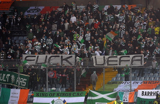 Celtic fans show their feelings towards UEFA