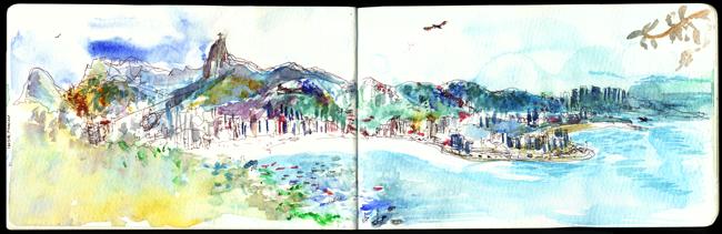 "Shiho Nakaza Brazil watercolor sketch sketching ""Rio de Janeiro"" ""Pao de Acucar"" ""Sugarloaf mountain"" sugarloaf"