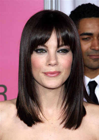 medium length hairstyles with bangs. medium length straight