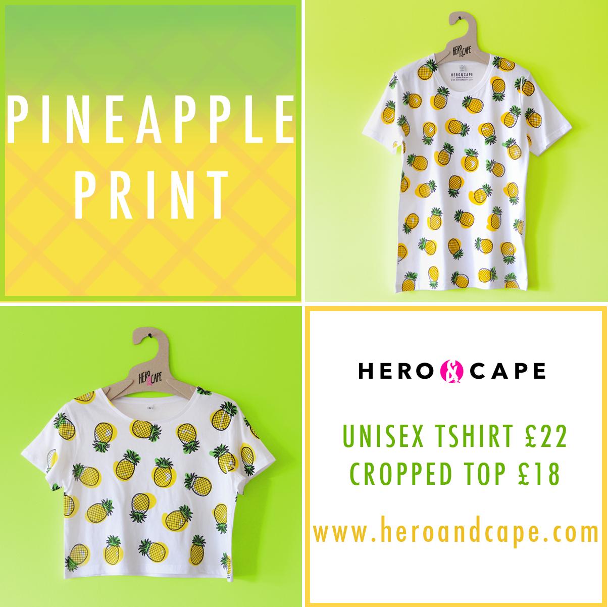 pineapple tshirt, pineapple print tshirt, pineapple pattern top