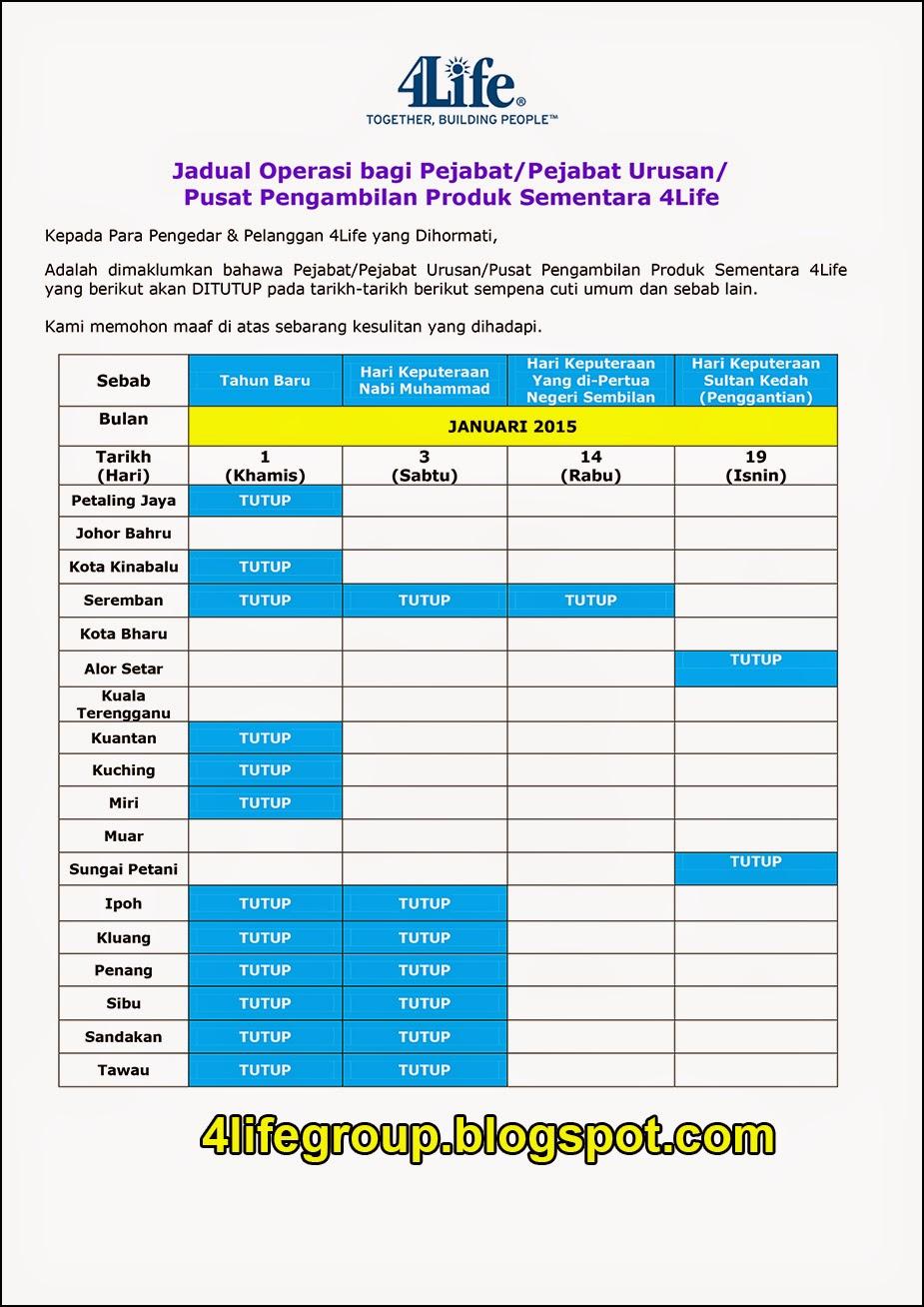 foto Jadual Operasi Bulanan Januari 2015 4Life Malaysia