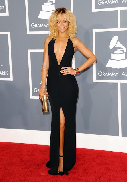 Rihanna in long black dress