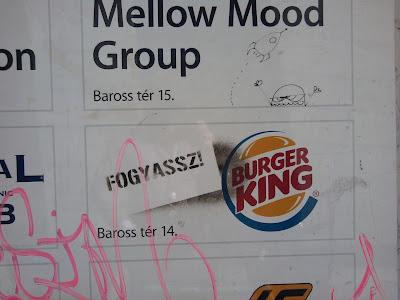 Burger King, street art, Budapest, stencil