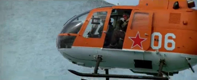 James Bond, A View To A Kill, orange helicopter close-up