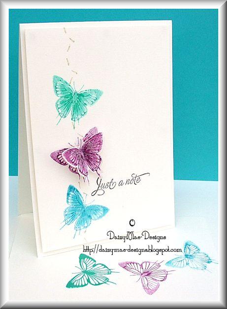 Butterflies, colours, distress inking
