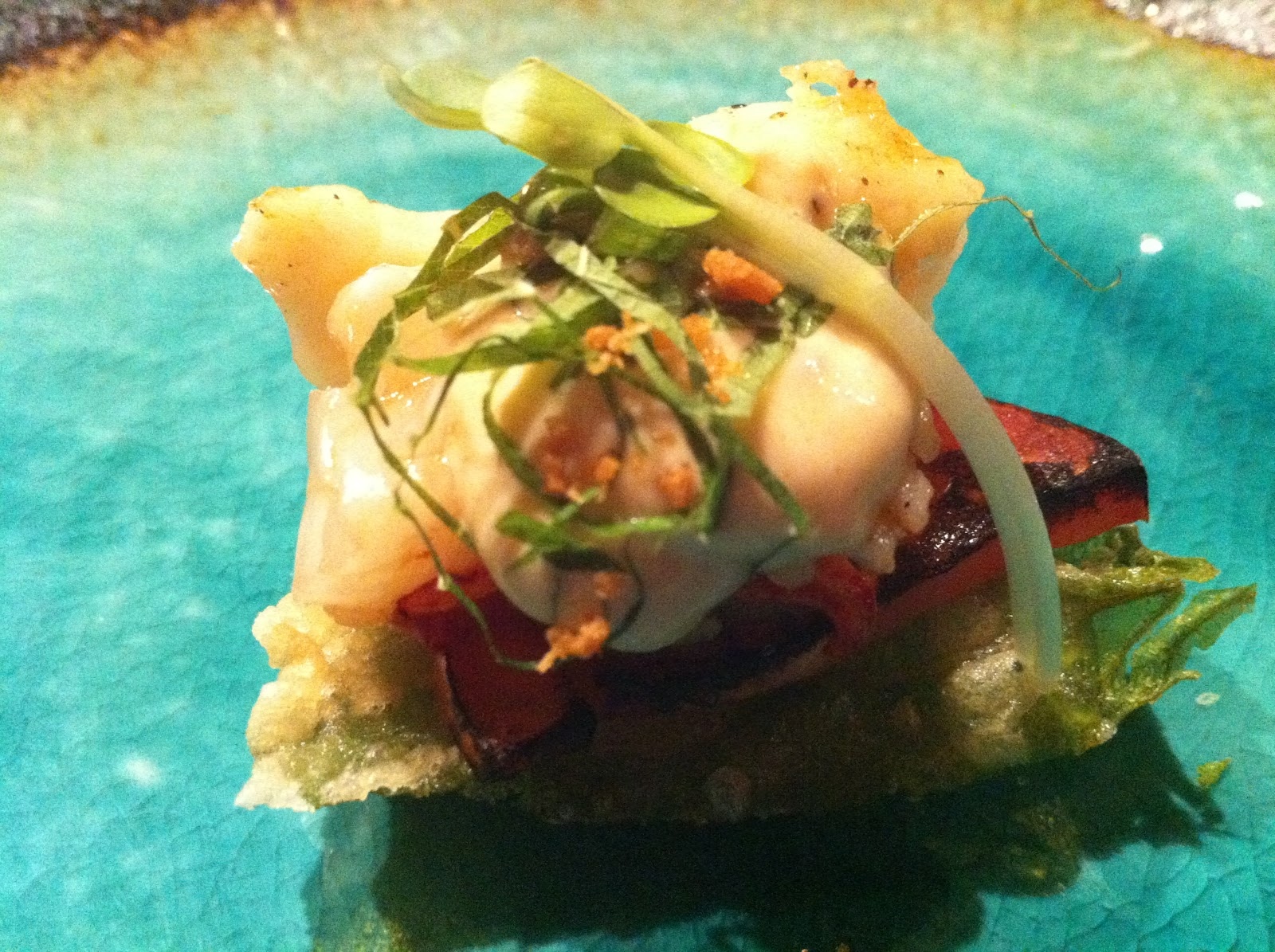 Shiso Tempura with Grilled Lobster, charred tomato, ponzu aioli