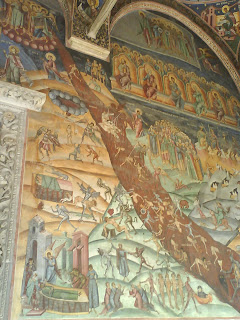 Hurezi Monastery, Oltenia, Romania, paintings right to the main entrance