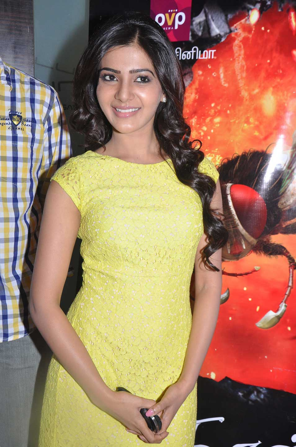 Samantha Ruth in yellow dress at event - Samantha Ruth latest Stills at Naan Ee Tamil Audio Launch
