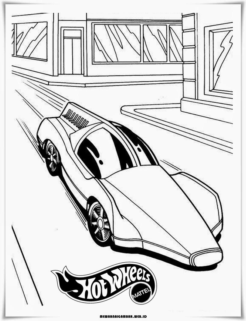 mewarnai gambar mobil hot wheels keren terbaru