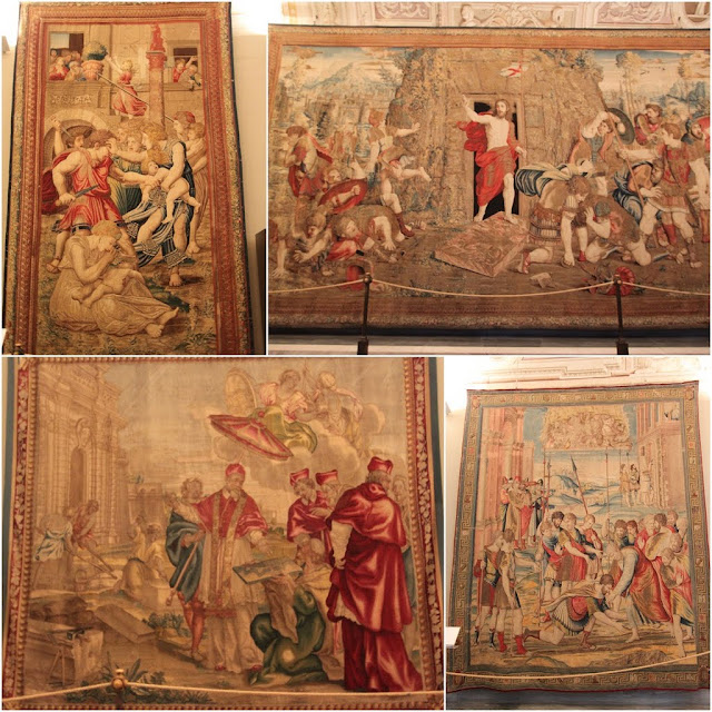 The arts work on the carpets in Galleria Degli Arrazi of Musei Vaticani (Vatican Museum) in Vatican City,  Rome, Italy