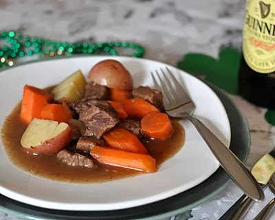 Emerald Isle Stew, a hearty, gravy-rich stew. Beef with onions, carrots and potatoes, seasoned with caraway.