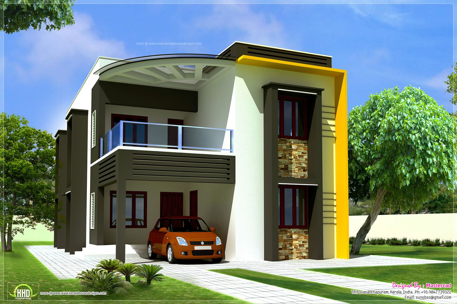 1400 square feet small villa elevation keralahousedesigns for Contemporary home plans 2015