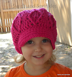Swirls and Sprinkles: diamond newsboy crochet hat