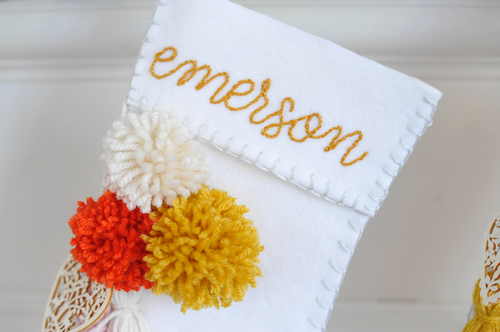 DIY Christmas Stocking with Tassels and Pom-poms Embroidered Name