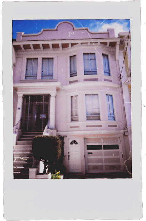 Polaroid of a pink colored house in San Francisco