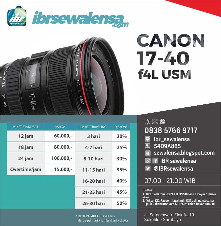 Canon 17-40 mm F 4 L USM Harga Sewa Rental Lensa Kamera