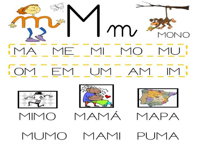 """Actividades y ejercicios para infantil y primaria: LA LETRA """" M ..."""