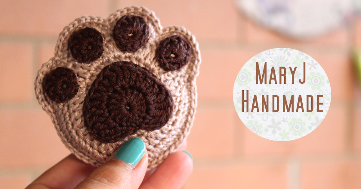 Free Crochet Pattern For Paw Print : MaryJ Handmade: Zampa alluncinetto / How to crochet a paw