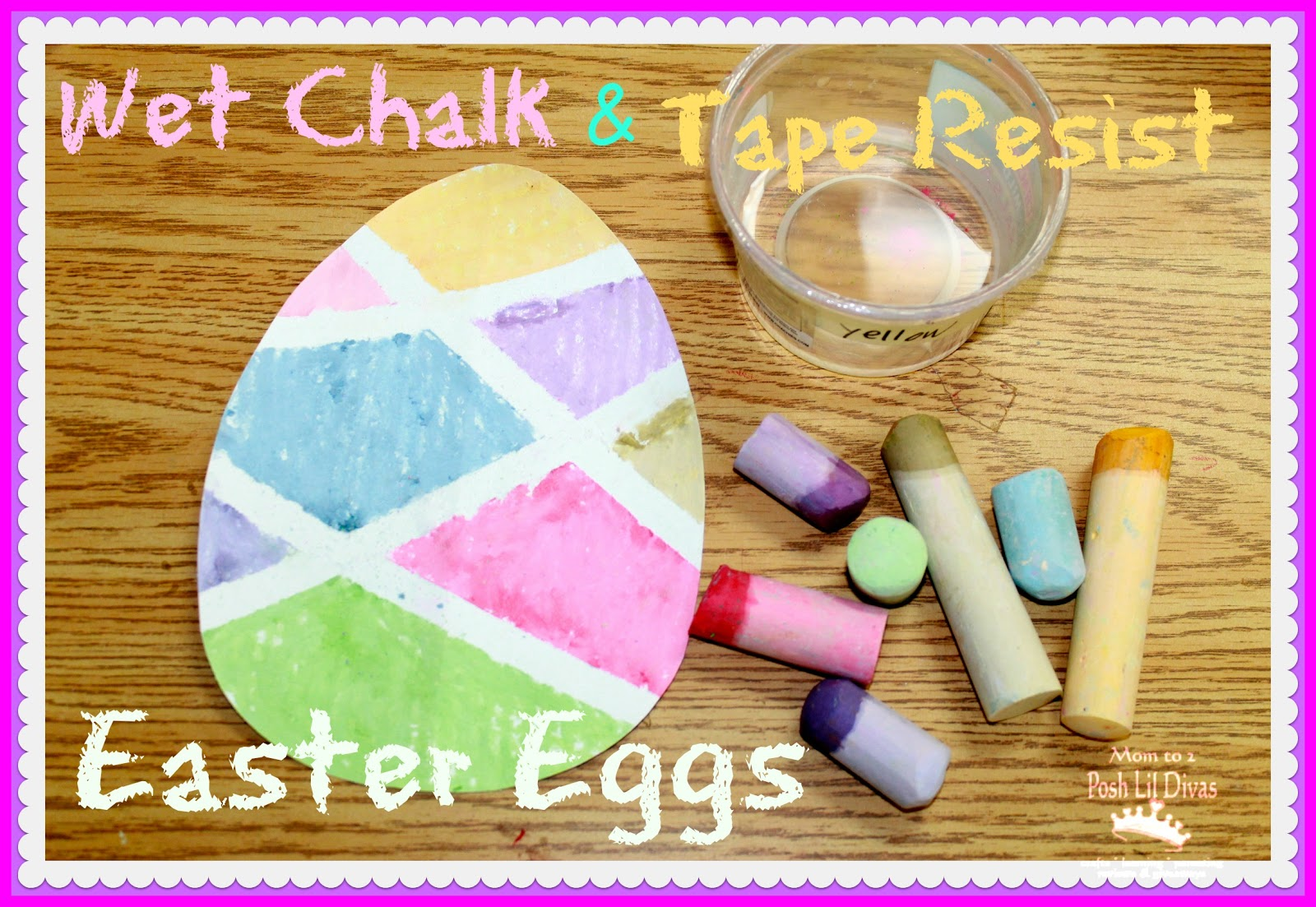 Wet Chalk Tape Resist Easter Egg Painting