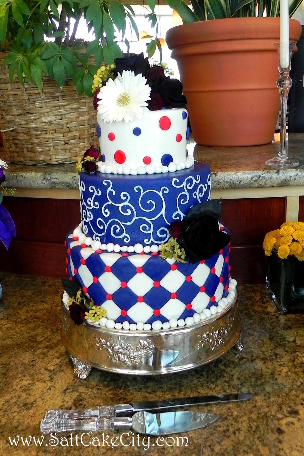 Salt Cake City Red White & Purple Wedding Cake