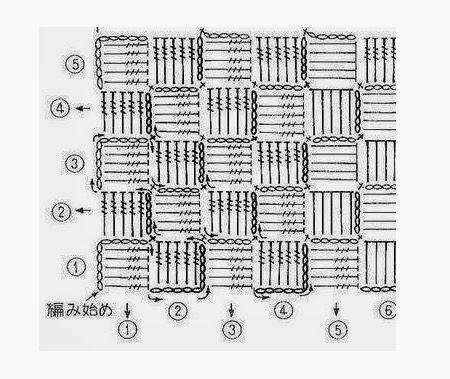 Схема вязания по диагонали крючком Простой узор