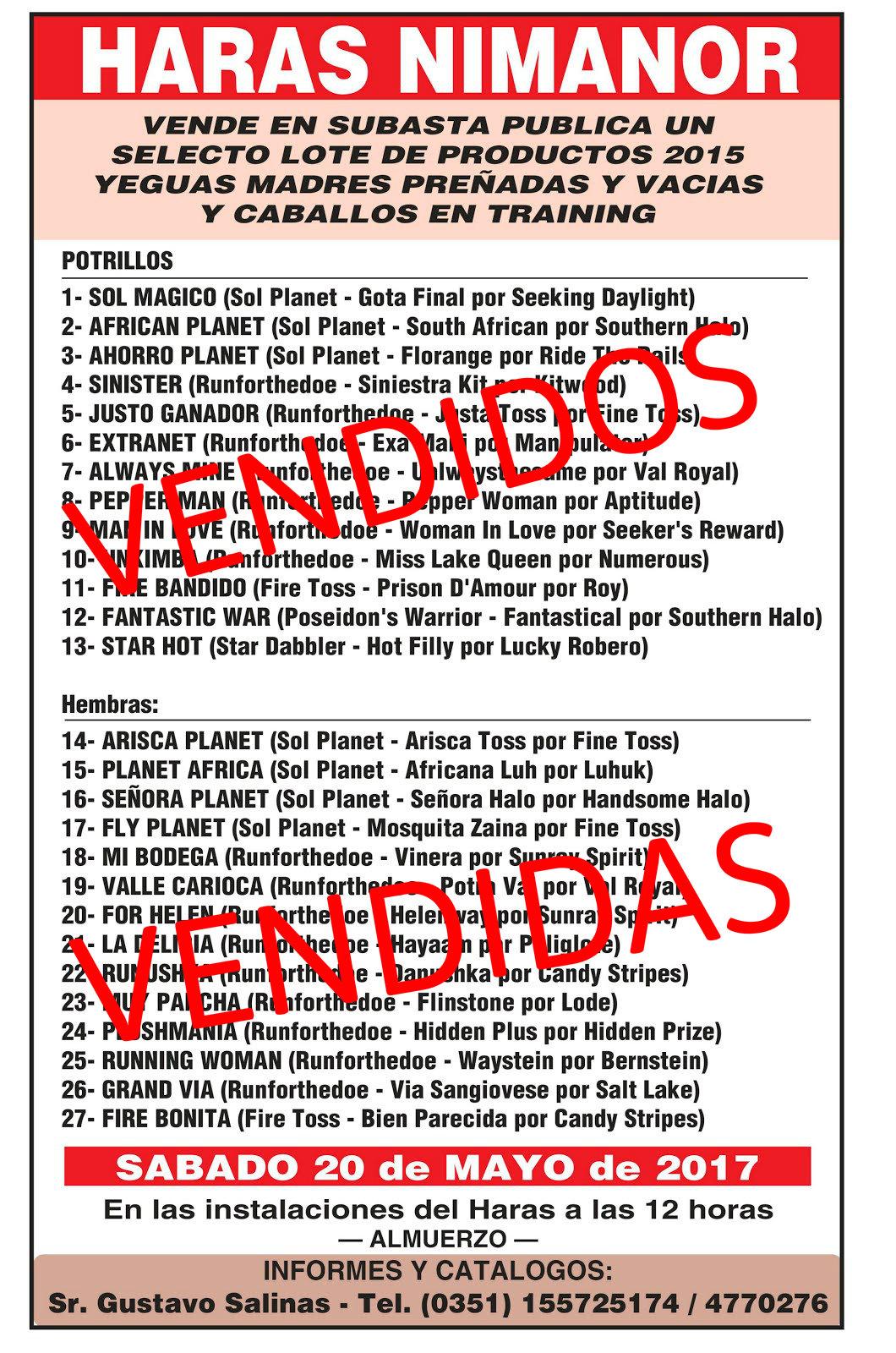 HS NIMANOR REMATE VENDIDOS
