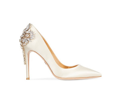 Badgley Mischka White satin pointy toe closed pumps with embellishment at back