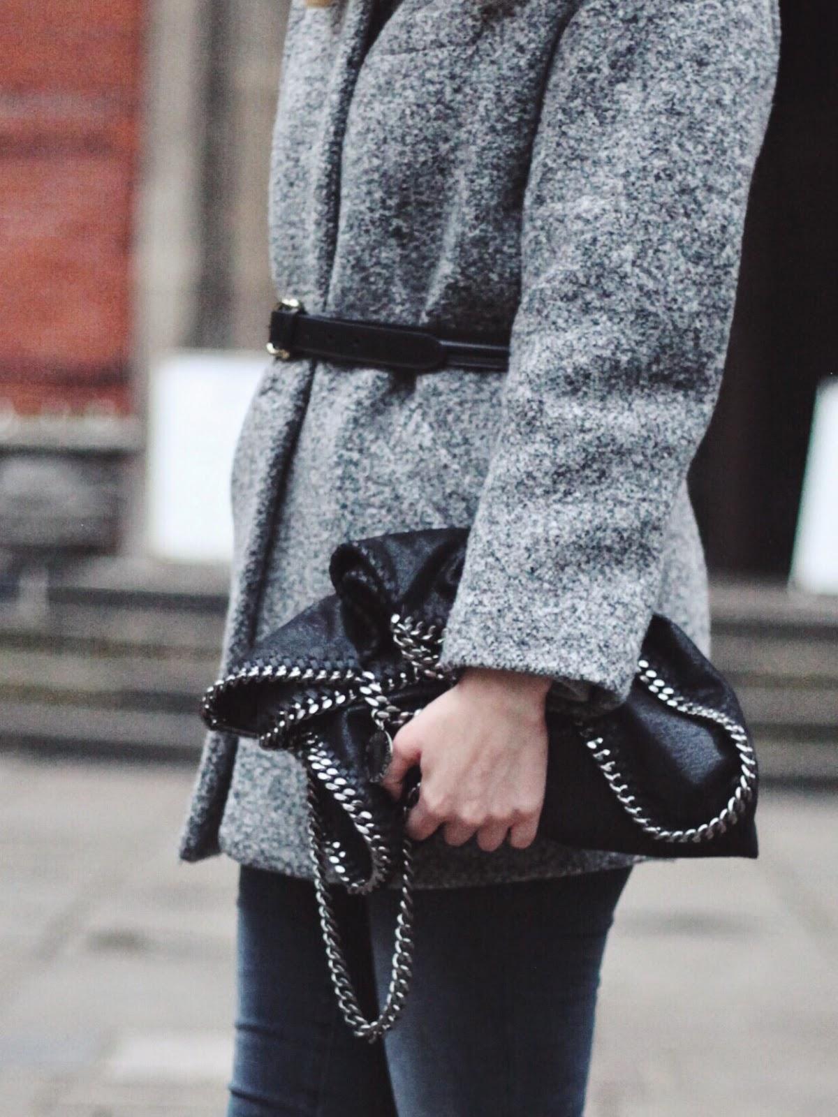 belted coat, grey belted coat, grey cocoon coat, iro candie coat, falabella bag, stella mccartney falabella bag