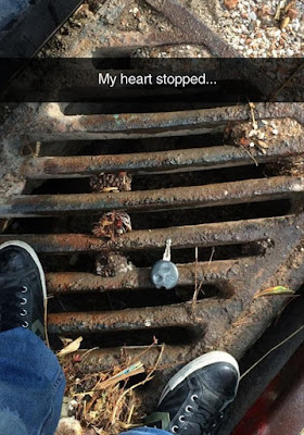 heart stopped picture, sewer grate, my heart stopped meme, almost dropped key down manhole