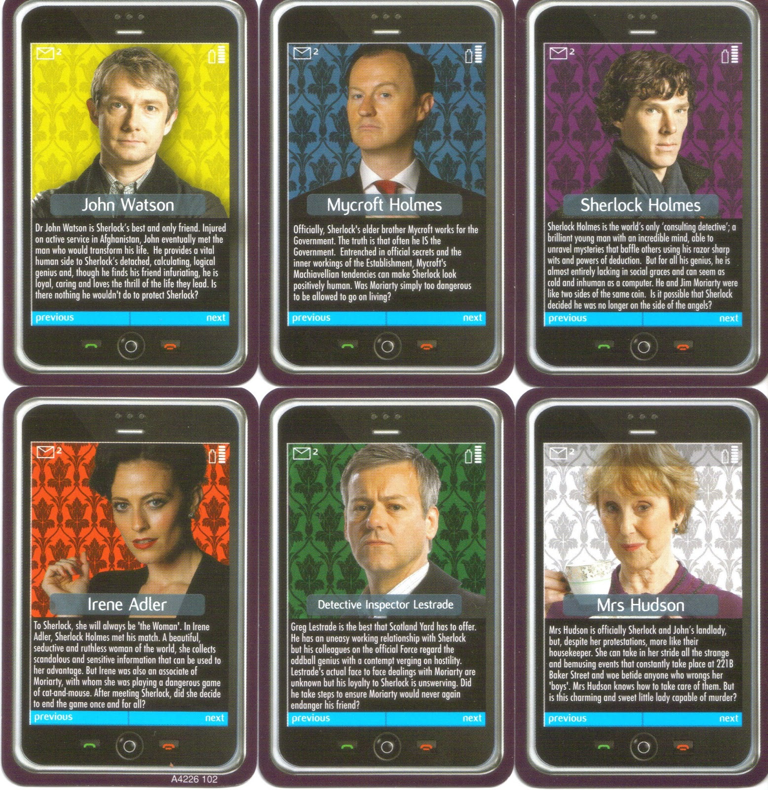 Clue Board Game Characters The character cards are the