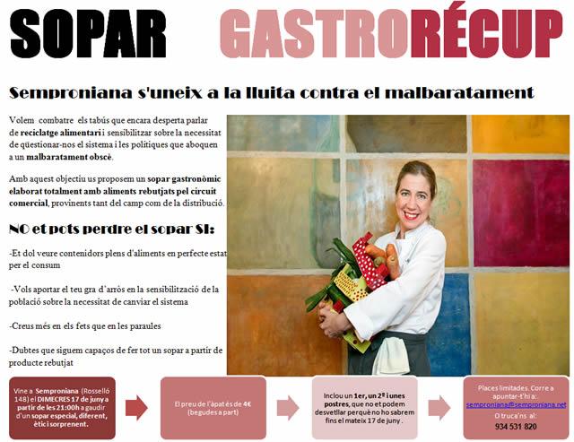 contra malbaratament alimentari, sopar gastrorecup al semproniana Ada Parellada