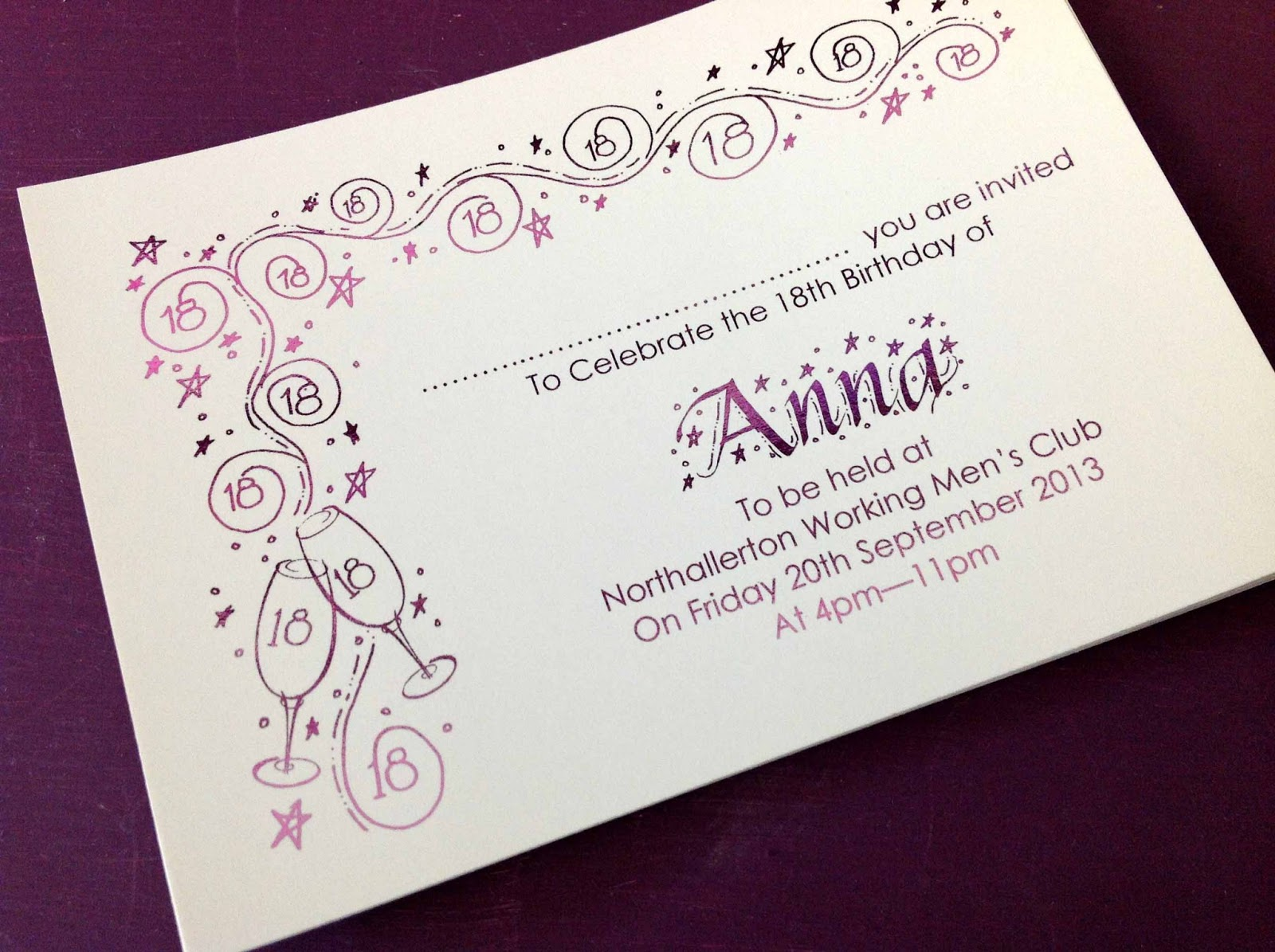 Inspired by Script: Anna\'s Personalised 18th Birthday Party Invitations