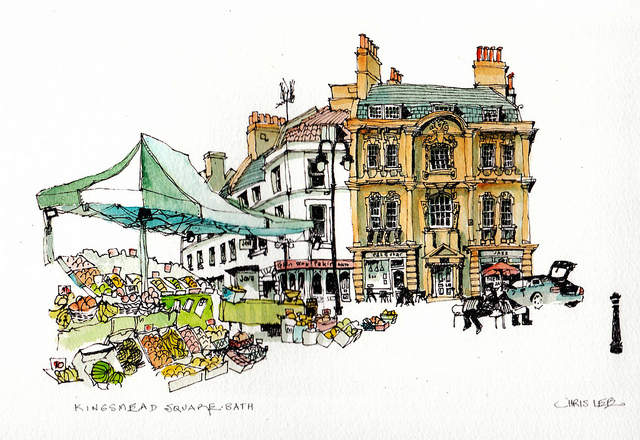 14-UK-Kingsmead-Square-Chris-Lee-Charming-Architectural-wobbly-Drawings-and-Paintings-www-designstack-co