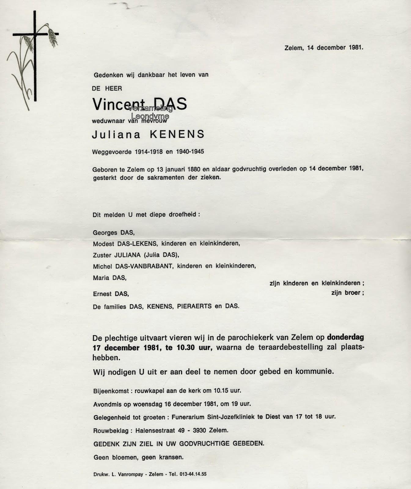 Rouwbrief, weggevoerde Vincent Das 1880-1981. Verzameling Leondyme.