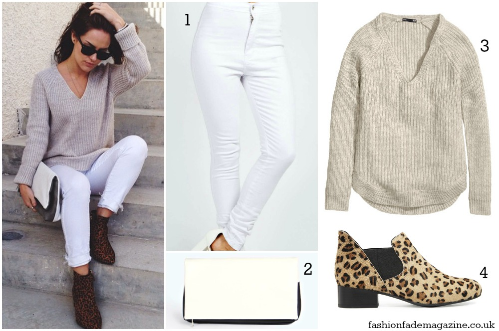 white jeans - beige cream neutral sweater v-neck ribber - leopard print boots - street style outfit - fashion blogger trend fall 2014