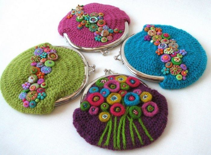 Monederos a crochet - Imagui