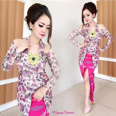 kebaya lengan panjang motif bunga rok panjang batik rangrang