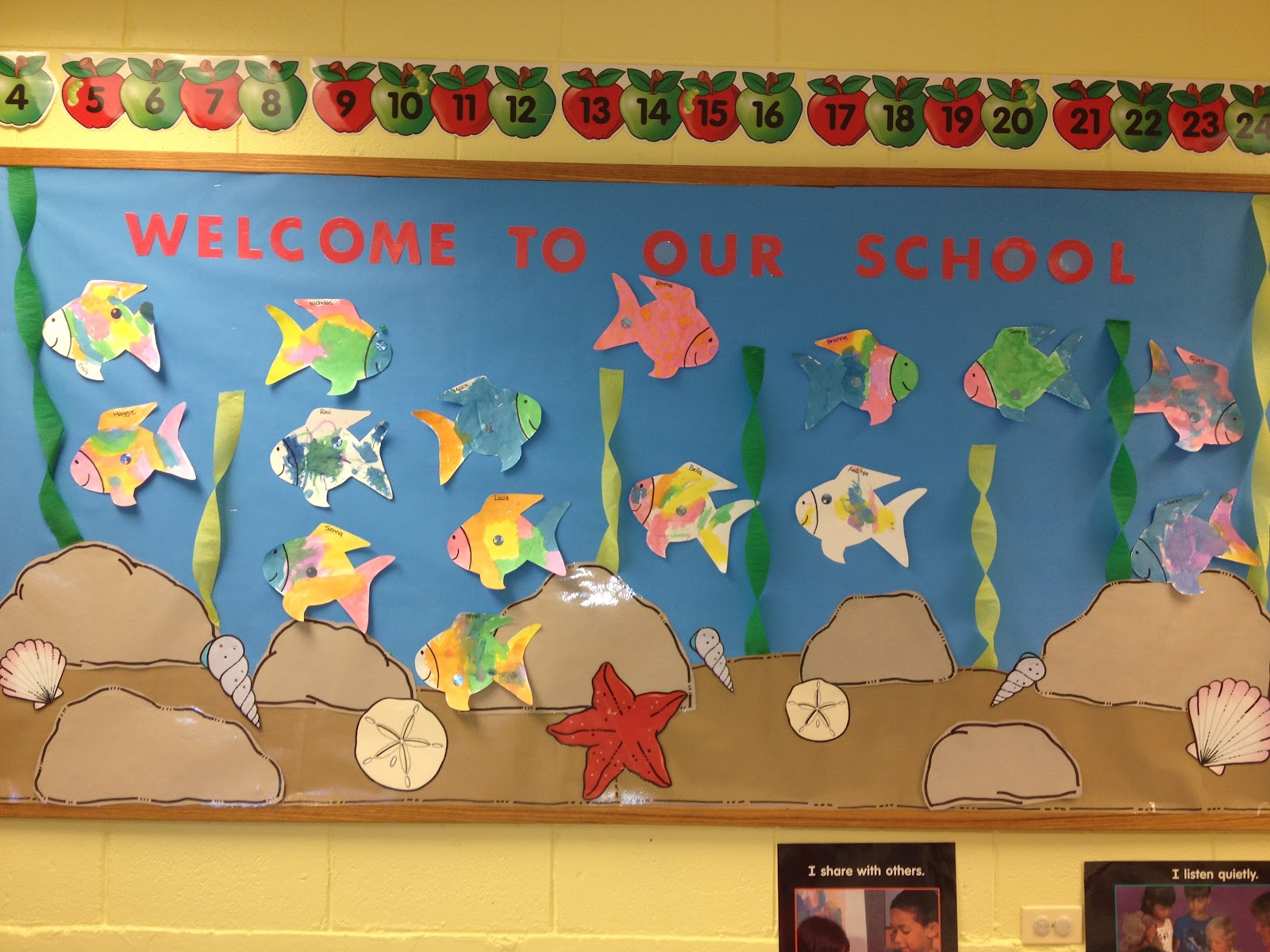 Welcome To Our School Rainbow Fish Bulletin Board