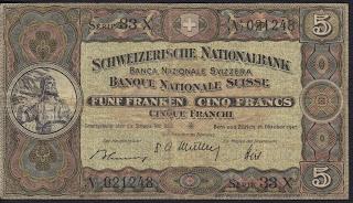 Svizzera 5 Franchi 1947 P-11m