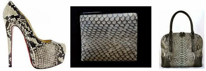 Some snake skin leather products