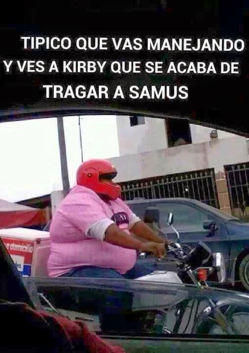 Ver a Kirby que se acaba de tragar a Samus