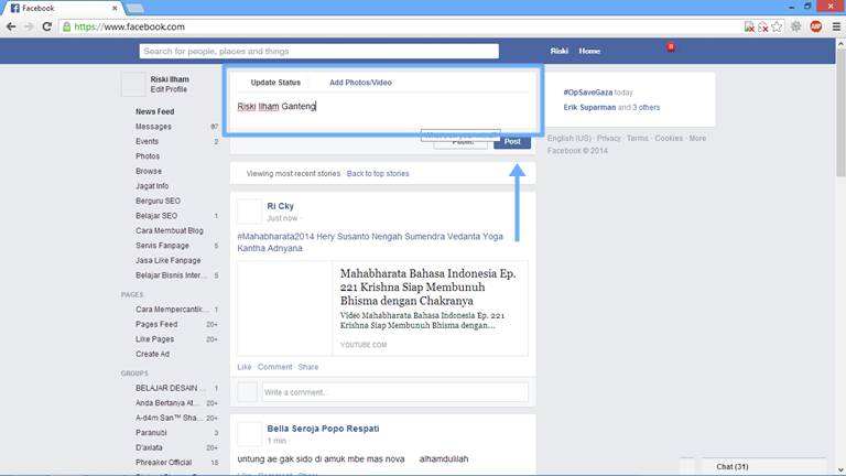 Cara Update Status Facebook