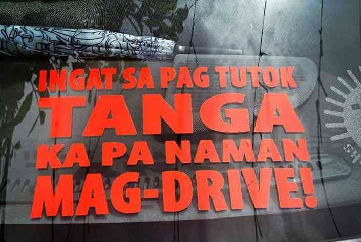 funny pinoy car sticker signage