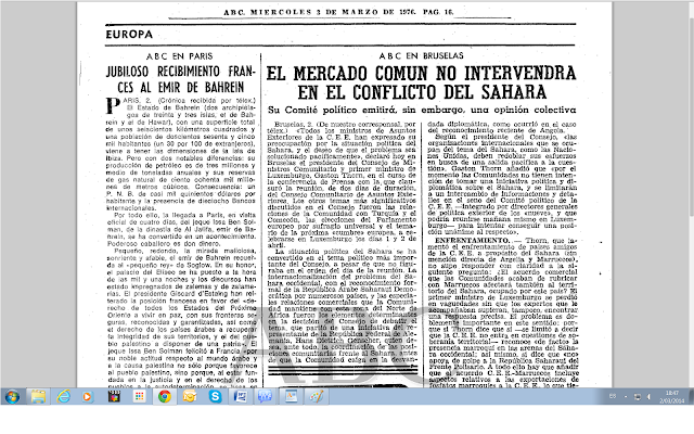 """""""La proclamación de la RASD contribuyó a internacionalizar el conflicto"""" (ABC, 03/03/1976)"""