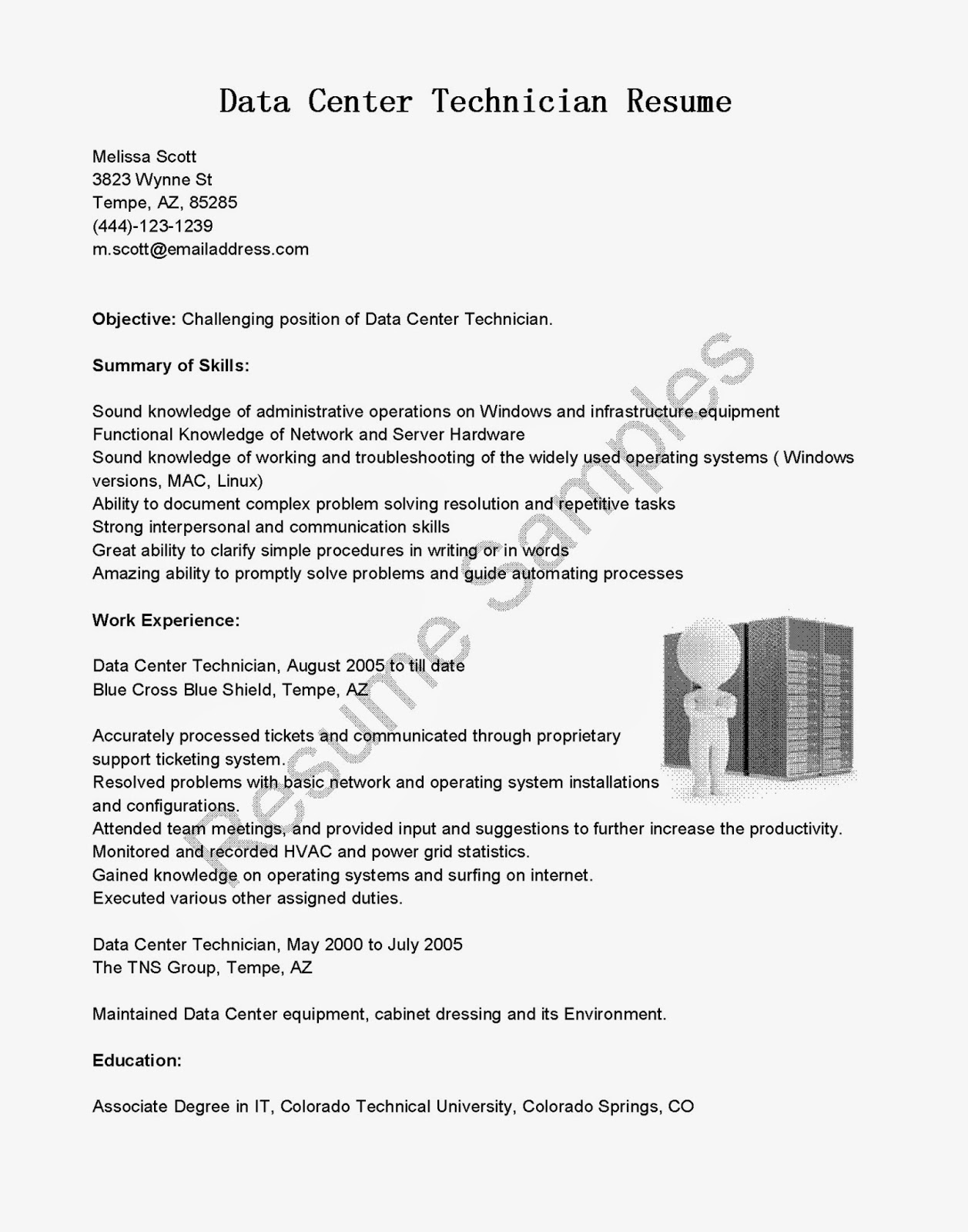 resume samples  data center technician resume sample