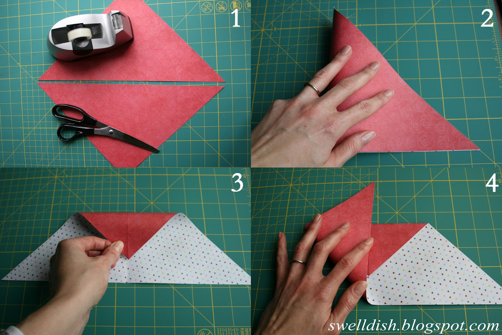 Origami heart note paper