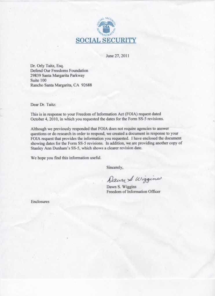 Give Us Liberty Breaking News From Orly Taitz Letter From Ssa